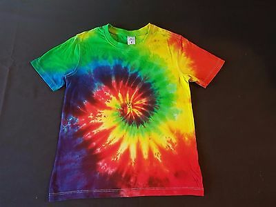 Unisex Kids Size 8, Tie-Dye Rainbow Revolution Spiral, T-Shirt, Cotton, Unique