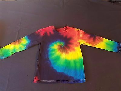 Unisex Kids Size 6 Tie-Dye Rainbow Revolution Long Sleeve Cotton T-Shirt, Unique