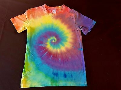Unisex Kids Size 10, Tie-Dye Rainbow Revolution Spiral, T-Shirt, Cotton, Unique
