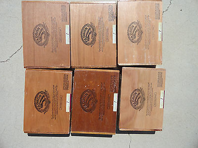 """Lot of 6 Wooden Padron Loudres Cigar Boxes 8-7/8"""" x 6"""""""