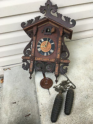 Antique Inlaid Wood American Cuckoo Clock Company Railroad 8 Day Cuckoo Clock