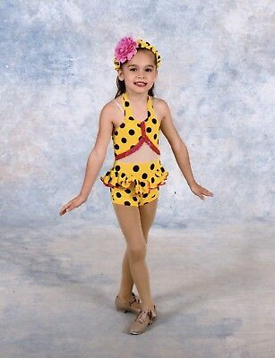 Yellow Polka Dot Bikini Dance Costume with hat