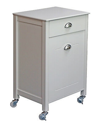 Twin Bin Kitchen Trolley With Drawer Cabinet Container Box Castors Wheels