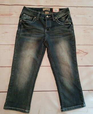 Mudd Girls Capri Jeans Sz 14 Dark Wash Blue Denim Embellished Cropped Pants NEW