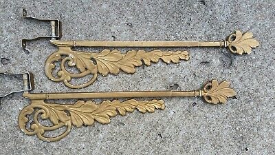 2 - VINTAGE ART DECO CAST IRON SWING ARM CURTAIN RODS with BRACKETS