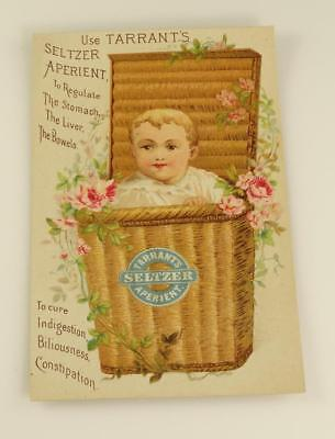 Antique Victorian Trade card Tarrant's SELTZER APERIENT 'Baby in a Basket'