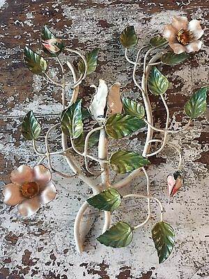 Antique Vintage Italian Tole Candle Sconce Morning Glories