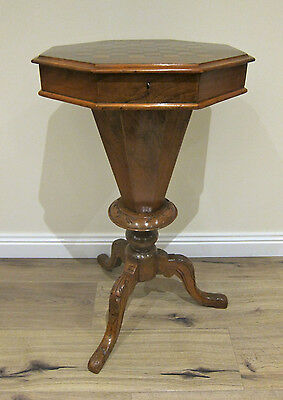 Victorian Walnut sewing table with chess top