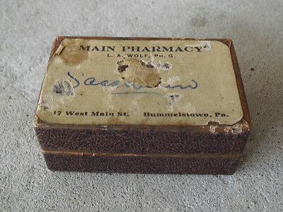 Vintage 1920s Main Pharmacy Hummelstown PA Empty Pill  Box LOOK