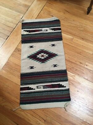 Chimayo Blanket Wall Hanging Saddle 19  By 41 Pre 1950 Nice Color