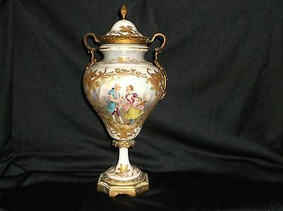 19th century Signed French Serves figural dancing couple urn