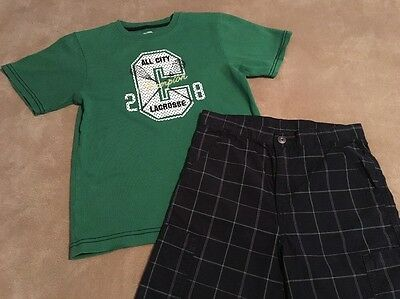 Gymboree Boy's Green Lacrosse T-Shirt and Navy Plaid Shorts, Size 12
