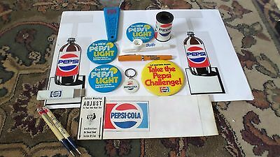 Vintage Pepsi Cola Collection 1960s to 1980s Pens Buttons Hat Kazoo Ice scraper