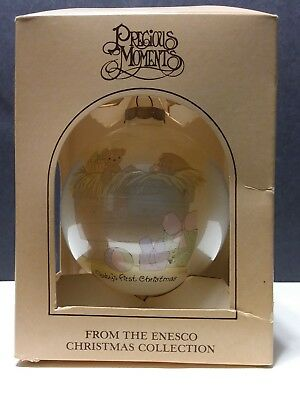 Baby's First Christmas 1987 Ornament Baby in Manger Precious Moments Glass Enesc