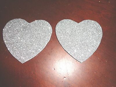Womens Pasties / Nipple Covers Silver Glitter Water Resistant