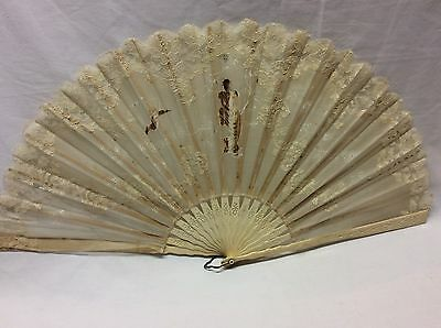 Antique Large Hand Fan w/ Lace and Chiffon