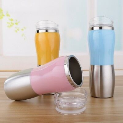 500ml Stainless Steel Double Layer Car Coffee Mug Peanut Shape Travel Water Cup