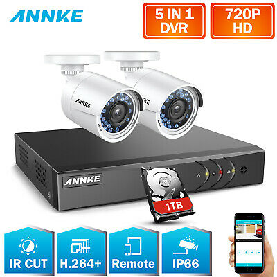 SANNCE 4CH 1080N 4in1 DVR 1500TVL IP66 Plastic Motion Security Camera System 1TB