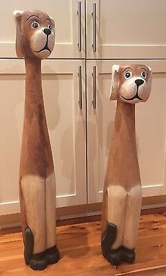 Wooden Ornamental Dogs statue set