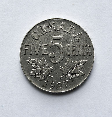 1927 Canada 5 Cents Coin Km29