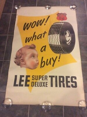 """Vintage """"Wow! What A Buy Lee Super Deluxe tires Poster!  Original! Wow!"""