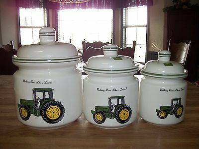 3 Jar John Deere Canister Set by Gibson