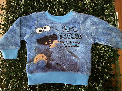 SESAME STREET Lincensed Cookie Monster It's Cookie Time JUMPER Size 00 VGUC