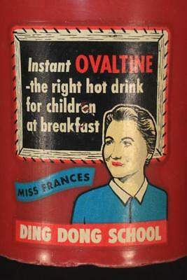 Vintage 1950's Ovaltine DING DONG SCHOOL Miss Frances Ad Plastic Decal Cup