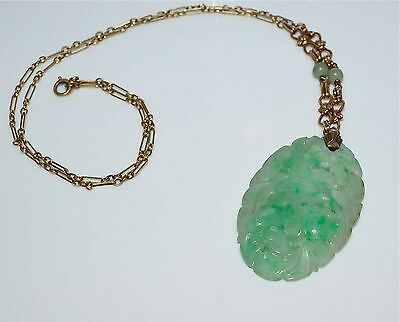 Antique Chinese Carved Jadeite Pendant and 14 kt Gold Necklace