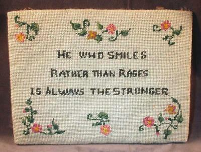 "Vintage Antique Finished Needlepoint Motto ""He Who Smiles..."""