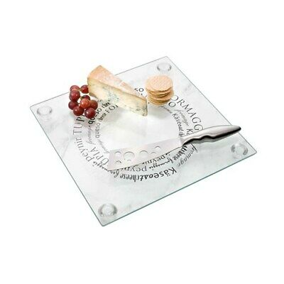 Ambrosia Zest Cheese Platter With Knife Square Brand New
