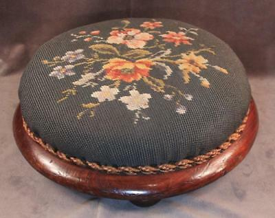 Antique Victorian Cherry Round Petit Point Needlepoint Footstool Stool