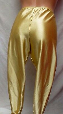 VTG Gold Satin Stirrup Pants Leggings Leotard Fredericks Sassy CD Trans Sissy