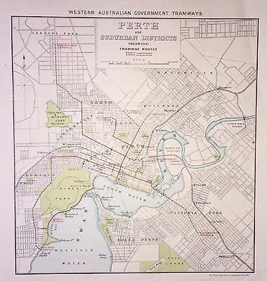 Original Early Map of Perth Western Australia Government Tramways.