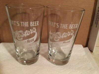 Hoster's Brewing Co Amber Lager Set Of 2 Pint Beer Glasses, Columbus, OH