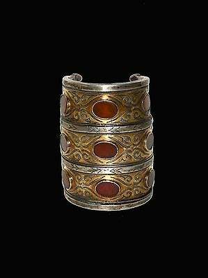 Antique Turkmen Turkman Sterling Silver Bracelet Huge Tribal Cuff