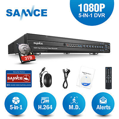 SANNCE 3TB Hard Disk 16CH 1080P AHD Video Security CCTV DVR Home Remote Motion
