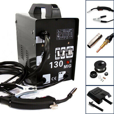 MIG 130 Gas-Less Flux Core Wire Automatic Feed Welder Welding Machine Set w Mask