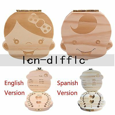 Tooth Box organizer for baby Kid Save Milk teeth Wood storage Spanish English