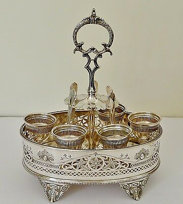 ANTIQUE Victorian SILVERPLATE  EGG CUP CRUET SET QUALITY -for 5 silver plate