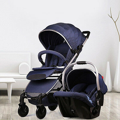 2-in-1 Baby Stroller Travel System High View Car Seat Jogger Carriage Pushchair