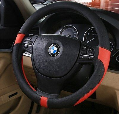 Black & Red Soft Real Genuine Leather Car Cars Steering Wheel Cover Glove UK