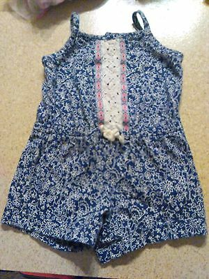 Girl's Size 6 months Romper Blue and White Flowers by Carter's