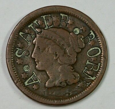 1XXX Large Cent – Counterstamped with A. Sauer Born