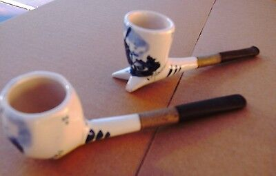 2 x pottery smoking pipes