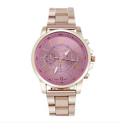 Roman Number Geneva Women Stainless Steel Quartz Sports Dial Wrist Watch Pink
