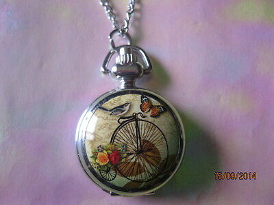 Penny Farthing Bird & Butterfly Print Quartz Watch Necklace.