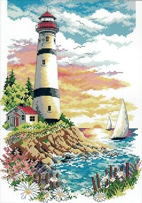 Lighthouse (4) 14CT counted cross stitch kit, 40cm x 30cm fabric. CSK0379