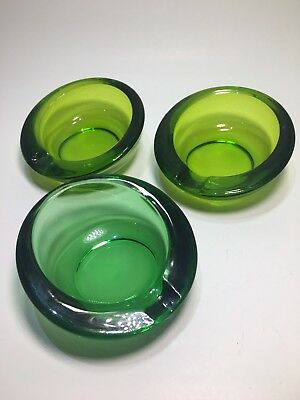 Vintage Mid Century VIKING Glass GREEN Small Orb ASHTRAY Lot Of 3