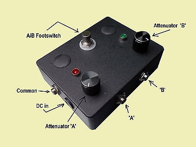 Passive A-B Footswitch with Volume Attenuators Guitar A/B Pedal with LEDS